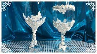 DIY GLAM DOLLAR TREE WINE CANDLE HOLDER/VASE OR GLASS BRIDAL