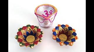 Diwali Diya Decoration ideas Part-2 | Easy 3 beautiful Painting designs |Diwali Give away gift ideas