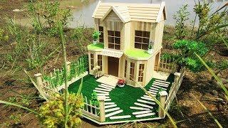 How to Make a Beautiful Mansion from Popsicle Stick - DIY Popsicle House | Model 17