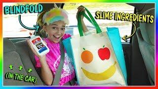 MAKING SLIME BLINDFOLDED IN THE CAR | We Are The Davises