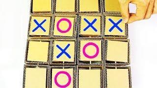 How To Make A Cardboard Tic Tac Toe Game - Homemade Gaming