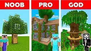 Minecraft - NOOB vs PRO vs HACKER : FAMILY TREE HOUSE BUILD CHALLENGE in Minecraft ! Animation