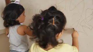 Karanvir Bohra Daughter Bella and Vienna Painting The Wall