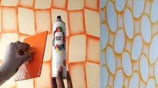 3 different geometric patterns on wall spray painting