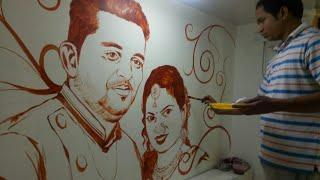 master bedroom wall painting couple portrait