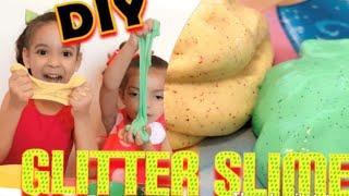 DIY GLITTER SLIME!! How to make slime with Glue, Baking Soda and Saline Solution