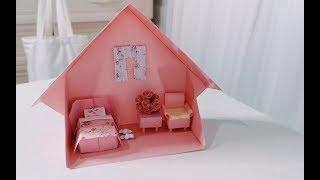 How To Make An Origami House - DIY Miniature Bed, Furniture