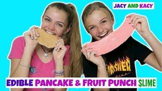 Making Edible Pancake & Fruit Punch Slime ~ Fun DIY ~ Jacy and Kacy