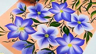 How To Paint using FLAT BRUSH | Free Hand Flower Painting Design / pattern