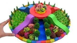 How To Make Round Flower Garden with Kinetic Sand, Mad Mattr, Slime, Tree Model