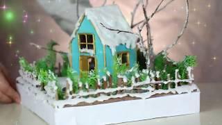 DIY Miniature Winter House   How to make a miniature Winter Zen Garden   Christmas House