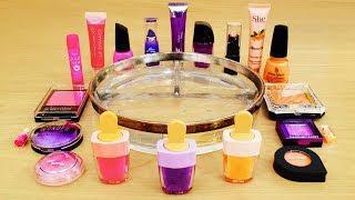 Pink vs Purple vs Peach - Mixing Makeup Eyeshadow Into Slime! Special Series Satisfying Slime Video