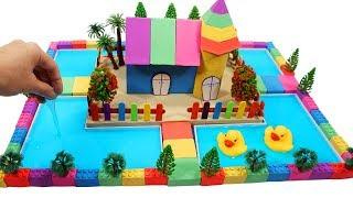 DIY How To Make Garden House, Pool with Kinetic Sand, Mad Mattr, Slime, Model Trees, Wooden Sticks