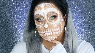 SUGAR SKULL MAKEUP TUTORIAL | White Glam Sugar Skull Makeup