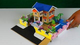 How To Make A Beautiful Cardboard House With Swimming Pool - Easy Miniature Dollhouse DIY