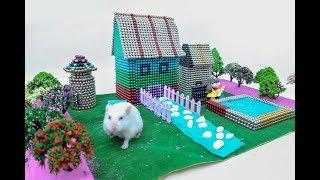 DIY How To Make Garden House Villa for Hamster with Magnetic Balls, Kinetic Sand, Mad Mattr, Slime