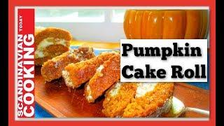 How To Make Easy Pumpkin Cake Roll From Scratch - Homemade Recipe for the Holidays! Græskar roulade