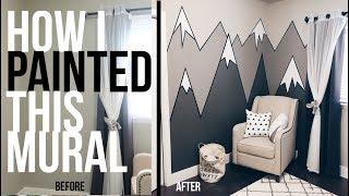 How to paint Mountains Mural on textured Walls