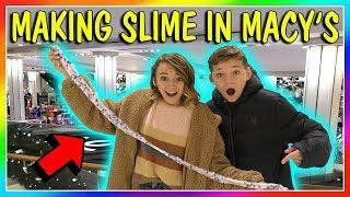 MAKING SLIME WHILE SHOPPING IN MACY'S????| Do we get caught? | We Are The Davises
