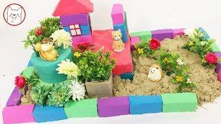 DIY How To Make House, Garden with Kinetic Sand, Mad Mattr Learn Colors, Animals