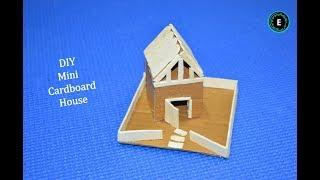 DIY Mini Cardboard House | How To Make A Small Cardboard House Easy Way | Cardboard + Popsicle Craft