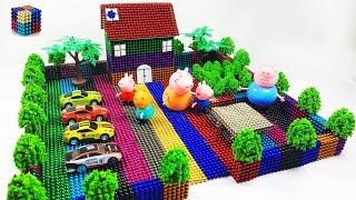 Peppa Pig Toy DIY How To Make  Rainbow House with 19866 Magnetic Balls( ASMR )|Magnetic Boy