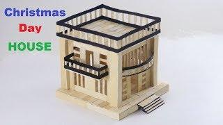 How to make popsicle stick modern house | ICE Cream Stick for House Christmas Day