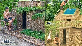 Build The Most Beautiful Bamboo Swimming Pool Villa House By Ancient Skills (FULL)