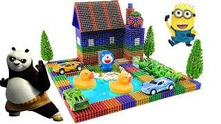 DIY How To Make Building House and Swimming Pool For Ducks With Magnetic Ball, Slime