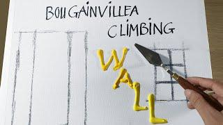 Daily Challenge #12 / Aluminium Art / Paint Bougainvillea climbing a yellow wall with Acrylic