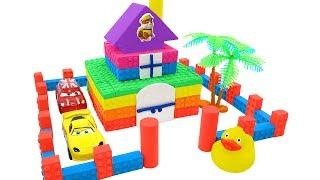 Build Kinetic Sand Rainbow Two-Floor HOUSE for Disney Cars MCQueen DIY How To Make For Kids