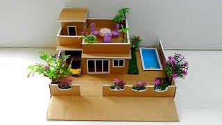 How to Make a Cardboard House with Pool and Garden | Easy Miniature Crafts for Kids