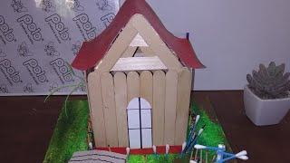 Making ice cream stick house//art and craft