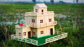 How to Make Popsicle Stick House - Building Popsicle Stick Garden Villa
