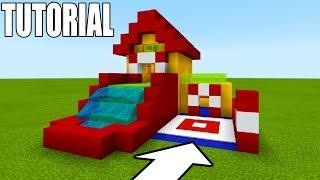 """Minecraft: How To Make Bouncy House With a Water Slide """"Fun House Tutorial 2019"""""""