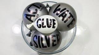 Making Satisfying Metallic Silver Slime with Balloons Cutting!