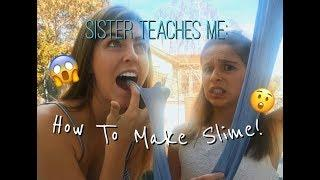 LITTLE SISTER TEACHES ME HOW TO MAKE SLIME!