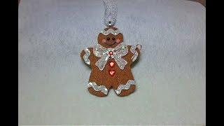 DIY~Make An Adorable Gingerbread Man Ornament To Match The Gingerbread House!