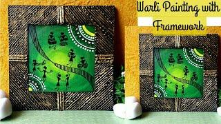 DIY  warli painting on canvas with decorative framework | Wall decor, Home decor ideas | #warliart