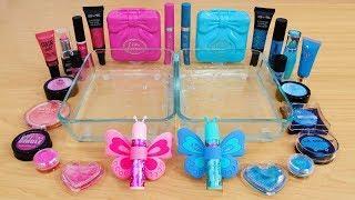 Pink vs Blue - Mixing Makeup Eyeshadow Into Slime! Special Series 101 Satisfying Slime Video