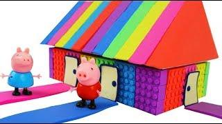 DIY How to Make Kinetic Sand Rainbow House for Peppa Pig !w Colors to Learn with Ping Pong