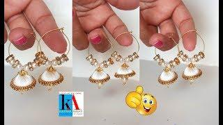 How to make Silk Thread jhumkas Hoop Style // Making Silk Thread Jhumkas