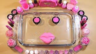 "Special Pink Party  Mixing""PINK""Makeup,Parts,glitter Into Clear Slime! ""PINK PARTY"""