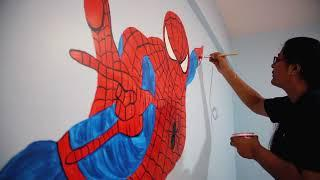Spiderman Wall Painting Kids Room Decorating Idea| AapkaPainter