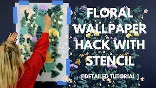 How To Stencil A Trendy Floral Accent Wall That Looks Just Like Wallpaper!
