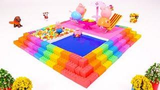 DIY How To Make Kinetic Sand Slime Candy Pool Rainbow Colors Learning Videos Rhymes songs For Kids
