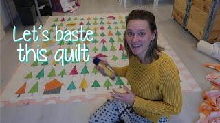 Basting the Tree Tree House quilt - Part 5