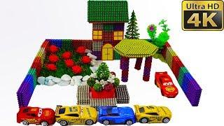ASMR and DIY How To Make Garden House with Magnetic Balls, Kinetic sand and Car toys