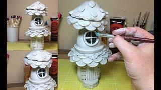 How To Make a Paper Clay Fantasy Mushroom House From a Recycled Cola Bottle , Fairy Mushroom House