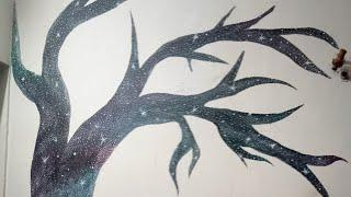 How to make galaxy tree painting on wall | time lapse